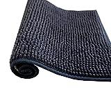 Alfombra de baño de pelos de Microfibra Super Suave Antideslizante Multifuncional Felpa Microfibra Chinille Cómoda Y Súper Absorbente Cocina Mascota (50x70cm, Negro)
