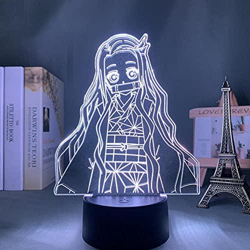 Anime Light Demon Slayer Nezuko - Lámpara LED para dormitorio infantil, decoración de cumpleaños, habitación o escritorio, acrílico, lámpara 3D Kimetsu No Yaiba