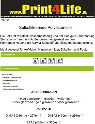 Plakfolie DIN A4 / DIN A3 voor laserprinter en kopieerapparaat Matt transluzent A3