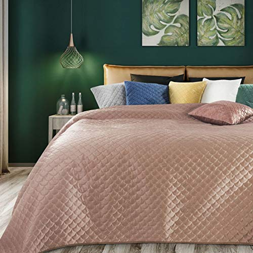 Eurofirany Bedsprei, fluweel, sprei, visschubbenpatroon, gewatteerde deken, sprei, gewatteerd, elegant, edele glamour, slaapkamer, woonkamer, lounge, poeder, 70 x 160 cm
