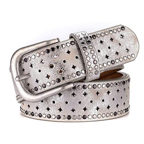 Cinturón de diseño original para mujer, estilo vintage, con remache, todo a juego, cinturón ancho para mujer (longitud del cinturón: 105 cm, color: plata)
