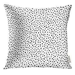 Micro Dot Pattern Black and White Decorative Pillow
