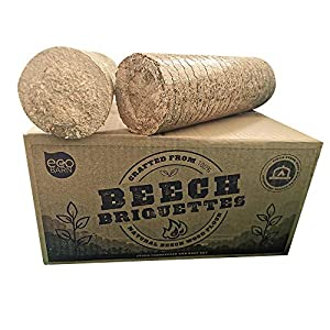 Eco Barn Briquettes –12KG - Wood Burning Stove & Pizza Oven Firewood, Full Box Burns for up to 12 Hours (1.5 per Briquette)