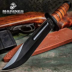 """Iconic USMC combat knife 7"""" stainless steel blade Heat treated black finish Blood groove and clip point Stacked leather handle"""