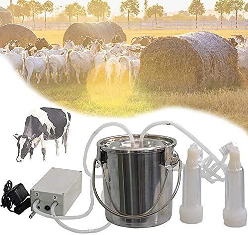 FCPLLTR Equipo de ordeño eléctrico, mármoles de Cubo de Cubo de Acero Inoxidable 25L con Manguera de Silicona, Atuendo del Tanque de vacío Leche para pastos (Vaca 5L), DOW ~ Carga