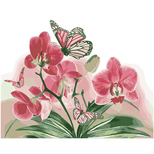 HUA5D Diy Pintar Por Numeros Adultos Kit Con Marco Mariposa Y Orquídea Rosada Flor A1 Cuadro En Lienzo Regalos De Vacaciones Para Niños 40X50Cm