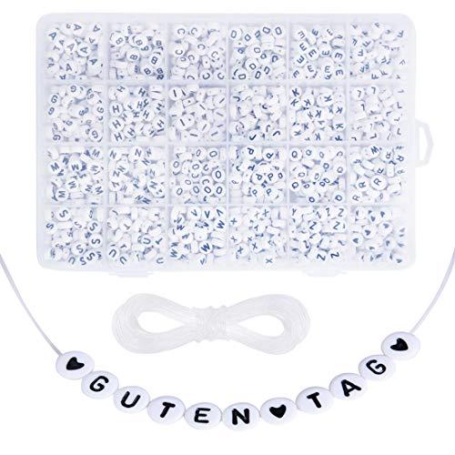 Cuentas de letras Abalorios Letras Redondas Cuentas Alfabeto para Pulseras DIY Manualidades (1620 Blanco)
