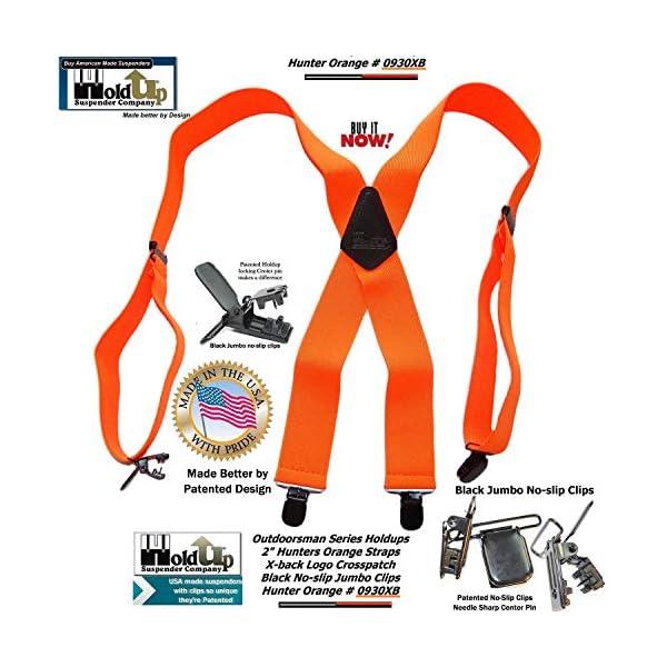 Holdup Brand Hunter Orange Outdoorsman X-back Suspenders with Jumbo Patented black No-slip Clips