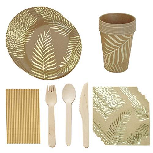Amosfun - Juego de vajilla de papel con hojas de palmera impresas para tartas, platos, servilletas, desechables, pajitas doradas para cumpleaños, bodas