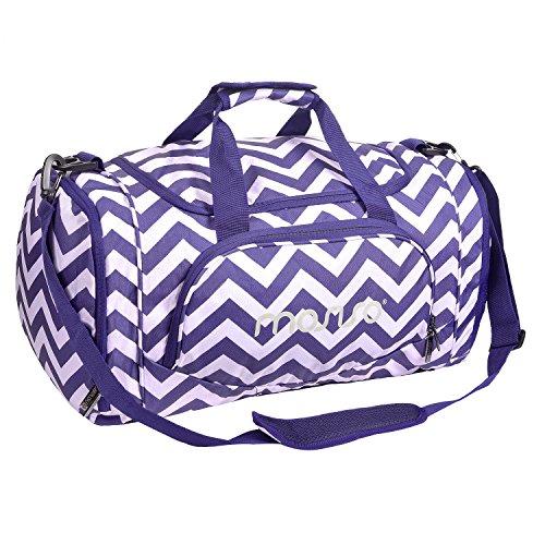 MOSISO Sport Gym Tasche Reisetasche mit Vielen Fächern, Wasserdicht Sporttasche Seesack für Tanzen, Fitness, Sport und Reise mit Schuh Abteil, Chevron Lila