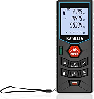 Telémetros láser, KAIWEETS 60M/196 pies Medidor láser de distancia LCD Metro Laser Profesional con Precisión 2mm, para Pythagorean, Medición de Distancia, Área y Volumen con Niveles de Burbuja, Pilas