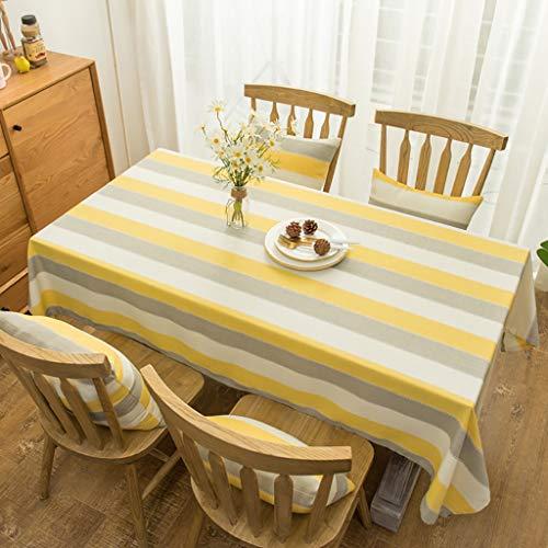 WENJUN Nappe, Nappe oblongue en lin jaune, couverture de table à rayures marine bleu antibactérien et anti-rides piano chiffon décor à la maison pour la cuisine, 6 couleurs