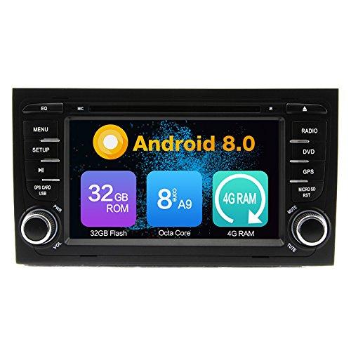 Octa Core 4G RAM Android 9.0 auto lettore DVD multimediale di navigazione GPS Autoradio per Audi A4 S4 RS4 2002 2003 2004 2005 2006 2007 2008 Radio controllo del volante WiFi Bluetooth SD mappa