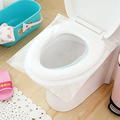 Lot de 50 couvertures de siège de toilette imperméables jetables pour voyage, 40 x 48 cm