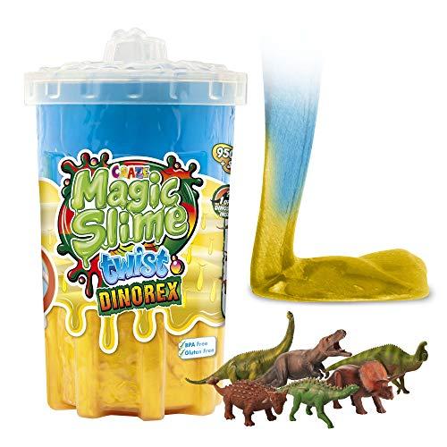 CRAZE Magic Slime Twist magischer Spielzeug Schleim Kinderschleim in Dose 950 ml inkl. Dinosaurier Spielfigur Mehrfarbig bunt 19801, Regenbogen