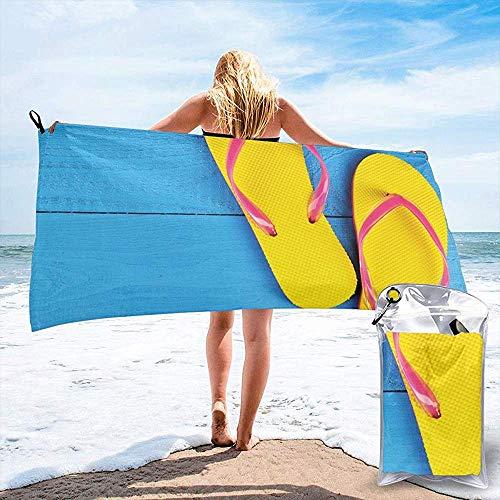 JHDF Flip Flops auf Holzsteg Fröhlich Urlaubsreisen Entspannen Bild Bad Schwimmbad Yoga Pilates Picknickdecke Strandtücher 80 * 130cm