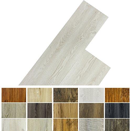 STILISTA Vinyl Laminat Dielen, 15 Dekors wählbar, 5,07m² oder 20m², rutschfest, wasserfest, schwer entflammbar - 20m² Eiche klassisch weiß