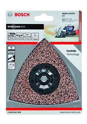Bosch Professional 2608662909 MAVZ 116 RT2-Piastra abrasiva in carburo di tungsteno, Grana 40, Ø 116 mm, Accessori Multifunzione