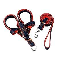 Xinvivion ペット犬 胴輪 首輪 ハーネス リード、 デニム 軽量 トレーニング ペット用品 伸縮 調節可能 散歩 ジョギング ポータブル
