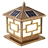 Luz de control de luz estilo chino faro de columna de energía solar para fiesta en el jardín