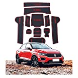 CDEFG Tappetino Antiscivolo per VW T-ROC 2018 2019 Antipolvere Tappetini in Gommaper per Interni Auto (Rosso)