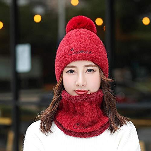 Sombrero de Punto con Cara Sonriente para Mujer más Sombrero de Babero Acolchado de Terciopelo Gorro Bordado para la Cabeza a Prueba de frío al Aire Libre-Vino Tinto-Traje