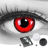 Farbige Kontaktlinsen Jahreslinsen Meralens 1 Paar rote schwarze Crazy Fun red lunatic .Topqualität zu Fasching Karneval Fastnacht Halloween mit Kontaktlinsenbehälter