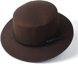 HongJie Hou 2019 Women Men Flat Top Fedora Hat Outdoor Por Pie Travel Casual Wild Church Hat Wide Brim Jazz Fascinator Hat Size 56-58CM
