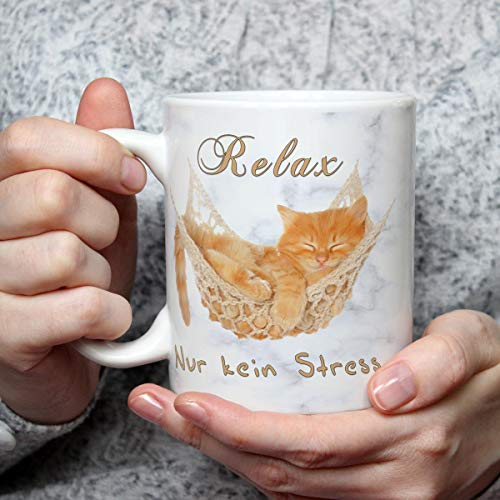 Geschenk Tasse Katze lustig mit Spruch Relax Katzenmotiv Geburtstagsgeschenk Erholung Entspannung für Katzenliebhaber Frauen Freundin Kollegin
