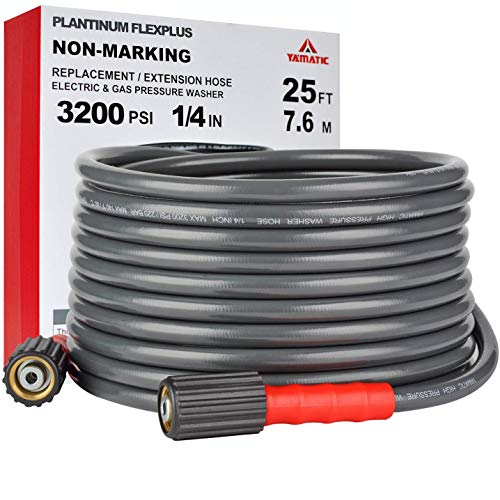 YAMATIC Pressure Washer Hose Heavy Duty & Wear Resistance Upgrade, 1/4' X 25 FT, Rate 3200 PSI & Burst 10000 PSI Universal for Max 3700 PSI Gas Power Washer
