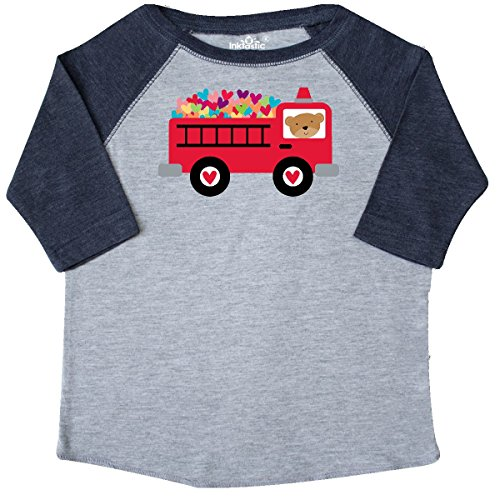 inktastic Valentine Fire Truck Heart Bear Toddler T-Shirt 3T Heather and Navy