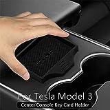 ROCCS Tesla modelo 3 consola central antideslizante llavero titular de la tarjeta, negro suave de silicona Mat centro Consola Copa Holder 2017 2018 2019