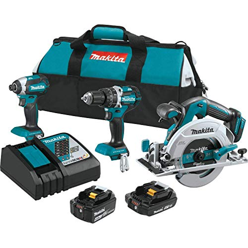 Makita XT333X1 18V LXT Lithium-Ion Brushless Cordless 3-Pc. Combo Kit (4.0Ah) (2.0Ah) (Renewed)