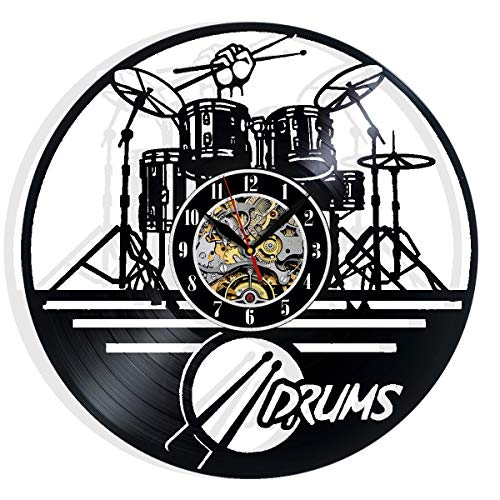 Guitar Drums Set Wall Clock Music Instrument Notes Vinyl Record Gift Home Decor Decorative Vinyl Record Wall Clock This Clock Is A Unique Gift To Your Friends And Family For Any Occasion