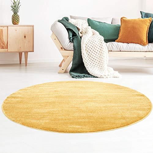 Taracarpet Kurzflor-Designer Uni Teppich extra weich fürs Wohnzimmer, Schlafzimmer, Esszimmer oder Kinderzimmer Gala gold 120x120 cm rund