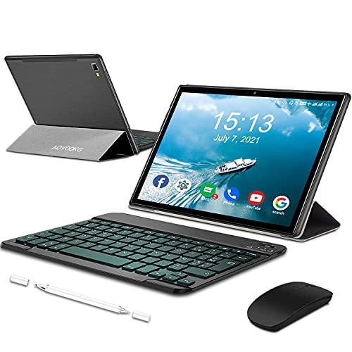 Tablet 10.1 Pollici Android 10,Tablets con 5G WiFi 4G LTE Dual SIM, Octa-Core, 6 GB RAM + 64 GB ROM,512GB Espandibili, 1920 * 1200 Full HD IPS, 8MP+5MP Doppia Fotocamera, con Tastiera e Mouse (Nero)