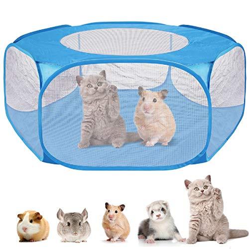 DaMohony Box per Animali Domestici Tenda Portatile a Gabbia per Piccoli Animali con Copertura con Cerniera. (Blu 120 Cm)