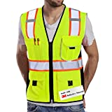 Dib Safety Vest Reflective Yellow Mesh, High Visibility Vest with Pockets and Zipper, ANSI Class 2 Heavy Duty, Made with 3M Reflective Tape 4XL