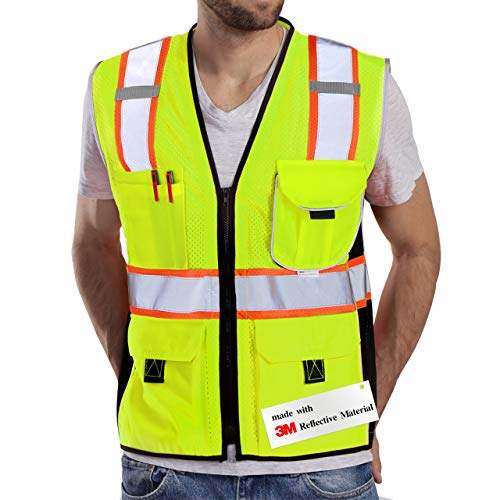 Dib Safety Vest Reflective Yellow Mesh, High Visibility Vest with Pockets and Zipper, ANSI Class 2 Heavy Duty, Made with 3M Reflective Tape L