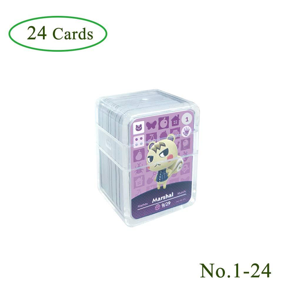 Tarjetas de juego NFC Tag para Animal Crossing, 24 piezas Tarjetas de juego Nfc con estuche de cristal Compatible con Nintendo Switch / Wii U(No. 1-No. 24): Amazon.es: Videojuegos