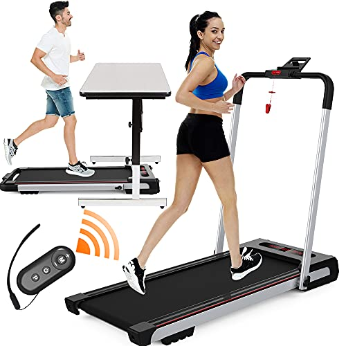 2 in 1 Treadmill for Home Portable Under Desk Treadmill with Machine Compact Remote Control LED Display for Fitness Workout Running Walking Jogging Exercise, Folding Treadmill Installation Free