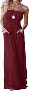 Women's Strapless Maxi Dress,Off Shoulder Summer Beach Dresses for Womens with Pockets