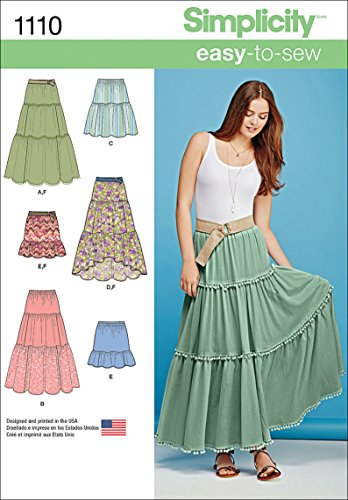 Simplicity 1110 Learn to Sew Tiered Skirt Sewing Pattern for Women, Sizes XXS-XXL