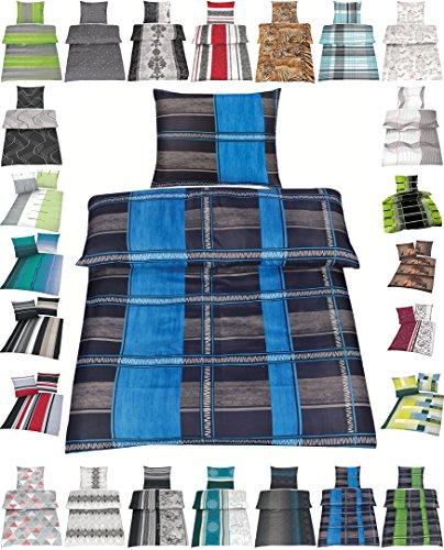 Wasserbetten-Markenshop Microfaser Bettwäsche Set 2 Größen viele schöne Designs, 4 TLG. 135x200 cm Kissenbezug 80x80 cm Noah Blau