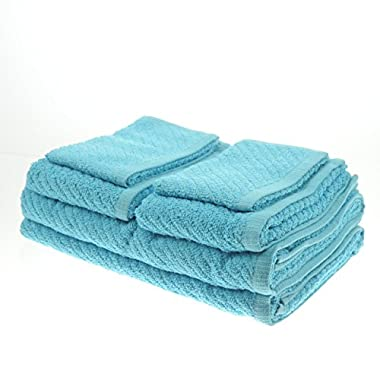White Dove Classic Value Towel Set - 6 PCS Included: 2 Bath Towels, 2 Hand Towels, & 2 Washcloths - Cotton/Poly Blend for Maximum Performance - Lightweight - Quick Dry - by Unity (Turquoise)
