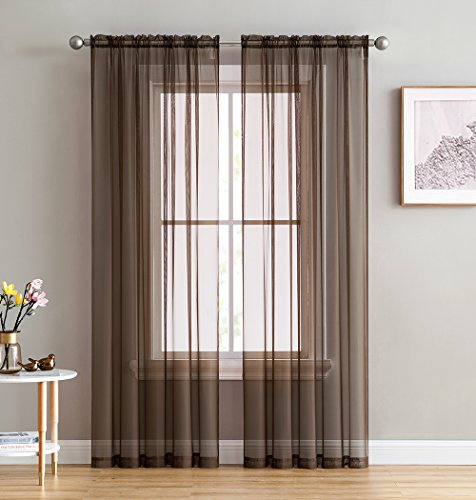 HLCME Chocolate Brown 2 Pack 54 inch by 84 inch Window Curtain Sheer Panels