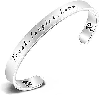Collar/pulsera con colgante para profesor con inscripción «Teach. Inspire. Love» grabada a mano
