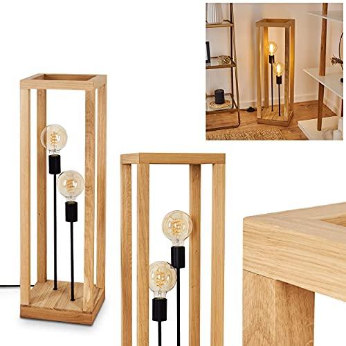 Lámpara de pie Torreglia, 2 focos, de madera y metal en color natural y negro, lámpara moderna con interruptor de pie en el cable, diseño escandinavo, altura 81 cm, 2 bombillas E27 máx. 60 W