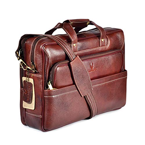 WILDHORN Classic Leather 16 inch Laptop Messenger Bag for Men I Office Bags I Travel Bags I Carry Handles with Adjustable Strap I Dimension: L- 16 inch H-12 inch W- 4 inch