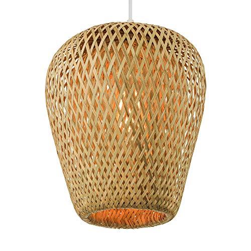 "BAYCHEER Lámpara colgante Rústica 1 luz E27 10"" Lámpara de bambú de doble capa Lámpara de Techo para restaurante Cafe [Clase de eficiencia energética A]"